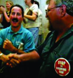 Marty Ginsburg (left) and Scott Coleman celebrate the defeat of the proposed county smoking ban in 2005. (Photo: Laurie Skrivan/P-D)