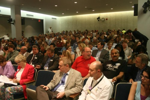 Packed council chamber before start of meeting, August 4, 2009