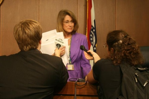 Councilwoman Fraser being interviewed after meeting