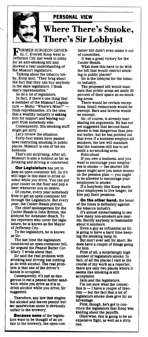 St. Louis Post-Dispatch columnist, Bill McClellan, March 11, 1990