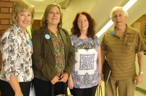 (L to R) Pat Lindsey, Jean Loemker, Michele McDonald, and Ernie Wolf outside council chamber