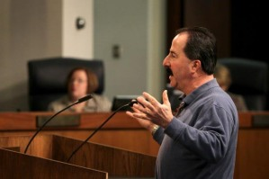 Marty Ginsburg, owner of the Sports Page restaurant in Chesterfield, addresses the St. Louis County Council about proposed changes to the county smoking ban during the public comment portion of the meeting in Clayton on Tuesday, Jan. 15, 2013. Photo By David Carson, dcarson@post-dispatch.com