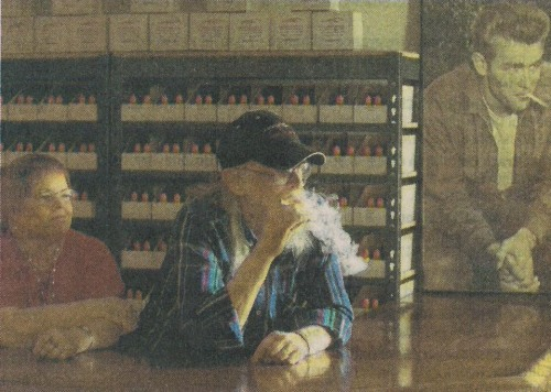 Harry Kholer vaping in his store - substitute wording